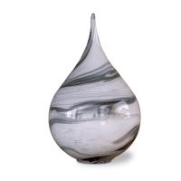 Zwiebel aus Glas Grau-Weiß