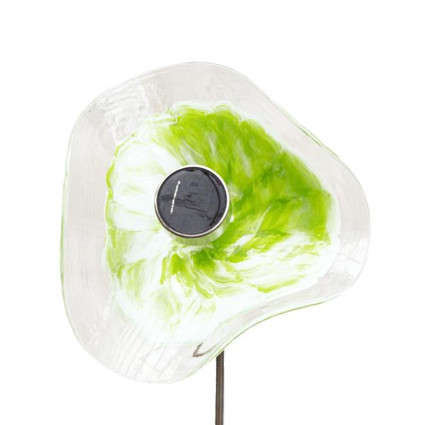 Kombiprodukt Solarblume Grün-Weiß mit Solarleuchte und Stab