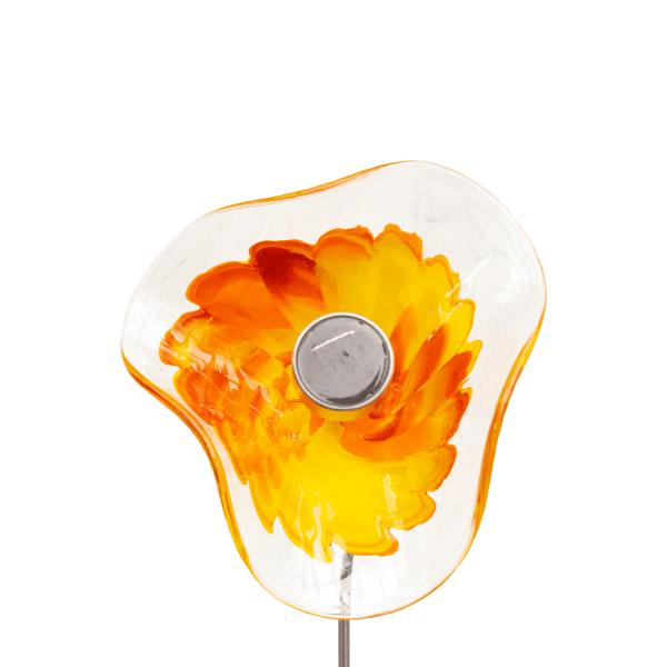 Kombiprodukt Solarblume Gelb-Orange-Rot mit Solarleuchte und Stab