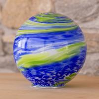 Gartenkugel Blau-Grün mit Gewinde