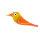 Vögelchen Rot-Orange-Gelb mit M6er Gewinde